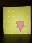 Handmade Valentine's Day card, green retro style